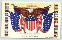 Flags postcard E Pluribus Unum In God We Trust To Save America WWII Patriotic 41