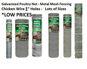 """Galvanized Poultry Net - Metal Mesh Fencing / Chicken Wire 1"""" Holes - Many Sizes"""