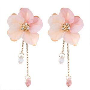 Fashion Crystal Flower Drop Dangle Earrings Pink Long Chain Womens Jewelry Gift