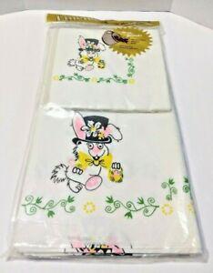 Vintage Linette Tablecloth 12 Matched Party Napkins Easter Bunny Basket Spring