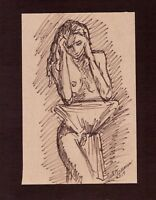 FEMALE NUDE POSE  by Ruth Freeman INK ON SKETCH PAPER  8  X 10 MOUNTED ON BOARD