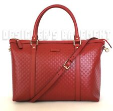 GUCCI red MICRO GUCCISSIMA convertible Zip Top LARGE TOTE crossbody bag NWT Auth