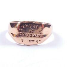 Rose gold signet ring 9ct Jeruslem inscription Size V