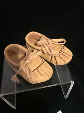 Vintage 1940's Handmade Soft Leather Baby Moccasin Shoes