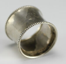 1919 Birmingham English Sterling Silver Napkin Ring  Beaded rim, slight concave