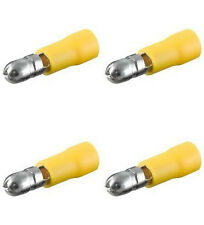 100 Rundstecker gelb,d= 5,00 mm für Kfz, Elektro, Elektronik u. Hobby b.300 Volt