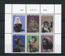 St Maarten 2015 MNH Monkeys 6v Block Set Fauna Wild Animals Apen