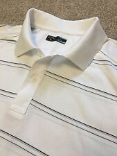 WORN ONCE CALLOWAY GOLF WHITE BLACK STRIPE WICKING VENTED POLO SHIRT L LARGE