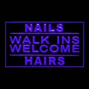 160130 Nails Walk In Welcome Hair Salon Display LED Light Neon Sign