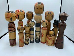 Kawaii Japanese kokeshi doll set of 13 cute wooden girls