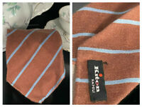 KITON NAPOLI  ITALY 7 SEVEN FOLD BROWN CASHMERE BLUE STRIPED LUXURIOUS NECK TIE