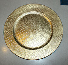 "7 MERITAGE Gator Rim Gold Lacquer Charger Plates 13""  Mint Condition"