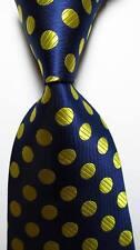 New Classic Polka Dot Blue Gold JACQUARD WOVEN Silk Men's Purple Tie Necktie