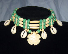 Handmade Native American Buffalo Bone Carved Turtle and Shell Choker Necklace