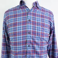 PETER MILLAR LONG SLEEVE BLUE PLAID POLYESTER NYLON BUTTON DOWN SHIRT MENS SZ M