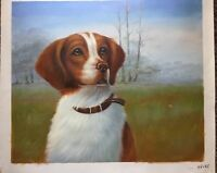 """PAINTING OIL HUNTING DOG  A FRENCH BRITTANY  20"""" X 24"""" UNSTRETCHED"""