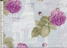 Purple roses and Paris landmarks on pale blue quilting fabric ~ per 1/2 YARD