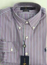 $98 Ralph Lauren Blue Label Polo Pony Poplin Purple Striped Custom Dress Shirt S