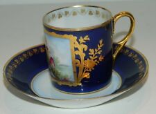 Pouyat Limoges / Sevres Hand Painted Signed Demitasse & Saucer