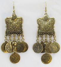 Gold Ethnic Boho Tribal Design Rustic Turkish Coin Drop Dangle Hook Earrings