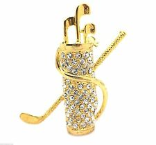 Golf Clubs Brooch Gold plated Crystal Women New Pin