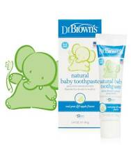 Dr Brown's Natural Baby Toothpaste 40g Fluoride Free Pear Apple Flavour Toddler