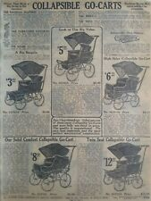 1911 Antique Baby Stroller Carriage Nursery Art Sears Catalog Page Vtg Print Ad