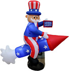 6 Foot Long Patriotic Independence Day 4Th Of July Inflatable Uncle Sam