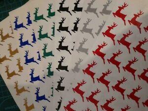 30 REINDEER PRANCING WINE GLASS CARD ENVELOPE VINYL STICKERS DECAL CHRISTMAS 018