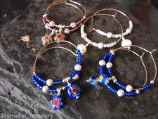 Handmade Glass Hoop Costume Earrings