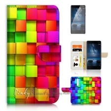 ( For Nokia 8 ) Wallet Flip Case Cover P21497 Abstract Rainbow