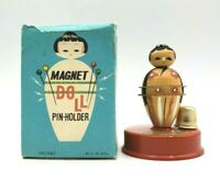 Vintage Japan Magnetic Geisha Doll Pin Holder for Sewing w/Original Box Cute!