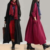 Hiver Femme Manche longue Décontracté lâche Manteaux vestes Simple Robe Oversize