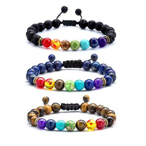 3 Pcs Men Women 8mm Lava Rock 7 Chakras Essential Oil Diffuser Braided Bracelets