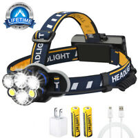 90000LM LED Headlamp HeadTorch T6 USB Rechargeable 18650 Battery COB Flashlight