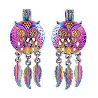 5X Rainbow Color Dream Catcher Owl Bird Pearl Cage Locket Pendant DIY Jewelry
