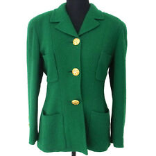Authentic CHANEL Vintage CC Logos Button Long Sleeve Jacket Green Y02323d