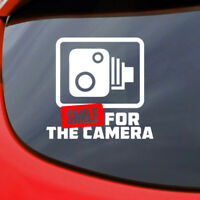 Smile for the Camera Car Sticker Funny Vinyl Decal Window Bumper Van Turbo Speed
