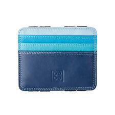 DuDu Portafoglio Magico uomo Blu in Vera Pelle Slim con 6 tasche Porta Carte