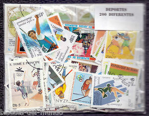 B-D-M Lote 200 sellos mundiales diferentes deportes - 200 different stamps sport