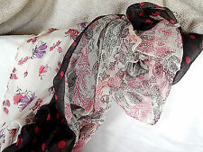 NEW POLYESTER POLKA DOT, PAISLEY, FLORAL SCARF/PAREO BLACK, RED, PURPLE, WHITE