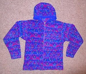 Vtg COLUMBIA Purple/Pink Hooded FLEECE JACKET Warm Soft Coat Size YOUTH XL 18/20