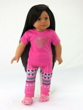 """Pink Glitter Heart Pant Set Fits 18"""" American Girl Doll Clothes"""