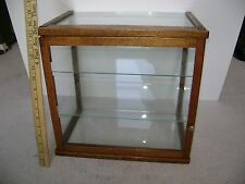 Antique Small Oak & Glass Countertop DISPLAY CASE w/ 2 Glass Shelves