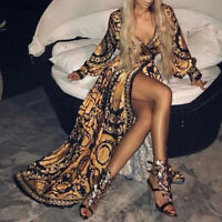 Boho Womens V-Neck Floral Print Evening Sexy Party Ball Gown Cocktail Long Dress