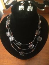 Black & Bronze Glass Bead Necklace & Matching Earrings