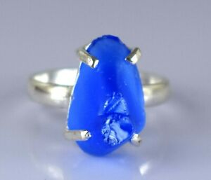 Engagement Gift 21.15 Ct Natural Blue Tanzanite 925 Silver Rough Ring Certified