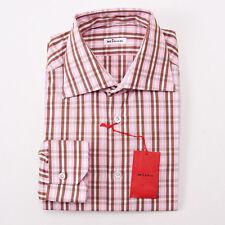 NWT $795 KITON NAPOLI Pink and Brown Check Dress Shirt 16 x 36 Modern-Fit