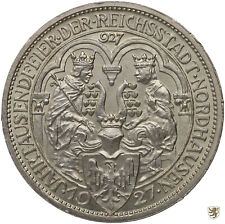 WEIMAR, 3 Mark, 1927 A, 1000 Jahre Nordhausen, Jg. 327, unzirkuliert