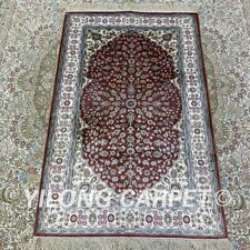 YILONG 2.5'x4' Red Handknotted Silk Carpet Home Interior Oriental Rug H198B